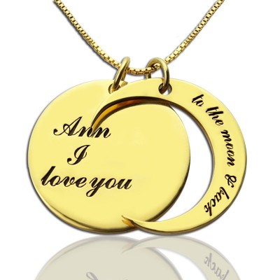 I Love You to The Moon and Back Love Necklace 18ct Gold Plated - Handmade By AOL Special