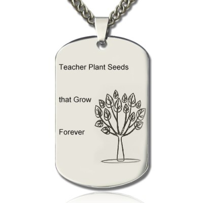 Man's Dog Tag Tree Name Necklace - Handmade By AOL Special