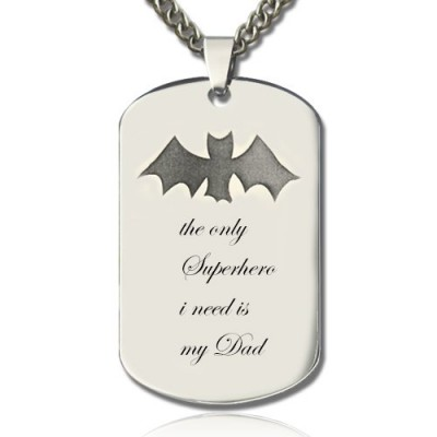Man's Dog Tag Bat Name Necklace - Handmade By AOL Special