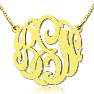18ct Gold Plated Large Monogram Necklace Hand-painted - Handmade By AOL Special