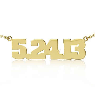 Gold Plated Silver Number Necklace - Handmade By AOL Special