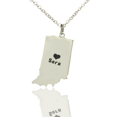 Custom Indiana State Shaped Necklaces With Heart Name Silver - Handmade By AOL Special