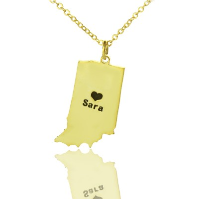 Custom Indiana State Shaped Necklaces With Heart Name Gold Plated - Handmade By AOL Special
