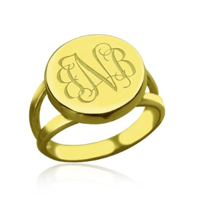 18ct Gold Plated Circle Monogram Signet Ring - Handmade By AOL Special