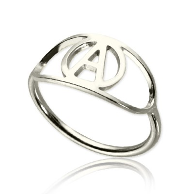 Personalized Eye Rings with Initial Sterling Silver - Handmade By AOL Special