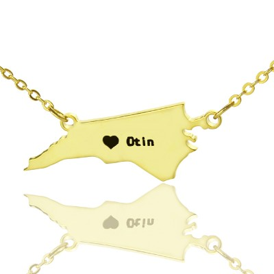Personalized NC State USA Map Necklace With Heart Name Gold Plated - Handmade By AOL Special