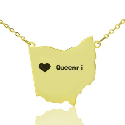 Custom Ohio State USA Map Necklace With Heart Name Gold Plated - Handmade By AOL Special