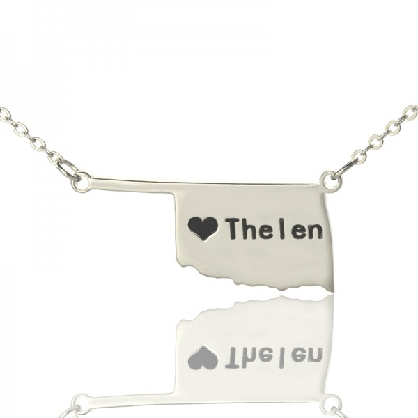 America Oklahoma State USA Map Necklace With Heart Name Silver - Handmade By AOL Special