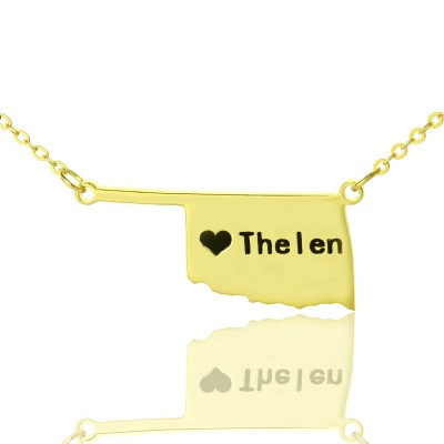 America Oklahoma State USA Map Necklace With Heart Name Gold Plated - Handmade By AOL Special