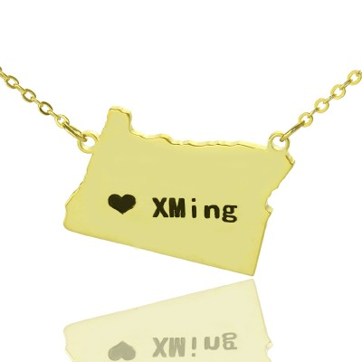 Custom Oregon State USA Map Necklace With Heart Name Gold Plated - Handmade By AOL Special