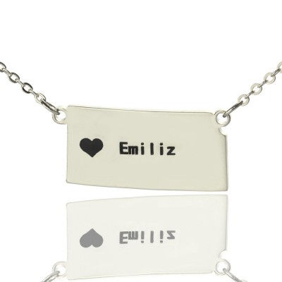 Custom Kansas State Shaped Necklaces With Heart Name Silver - Handmade By AOL Special