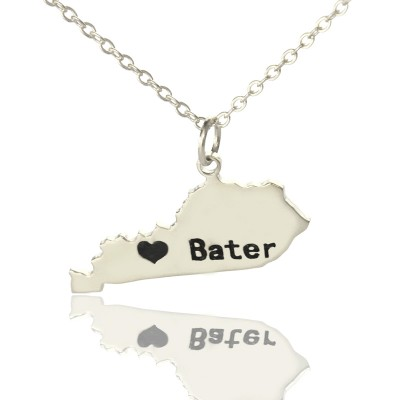 Custom Kentucky State Shaped Necklaces With Heart Name Silver - Handmade By AOL Special