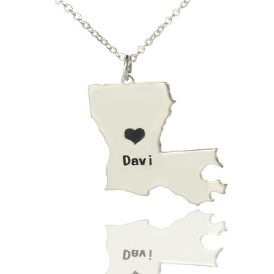 Custom Louisiana State Shaped Necklaces With Heart Name Silver - Handmade By AOL Special
