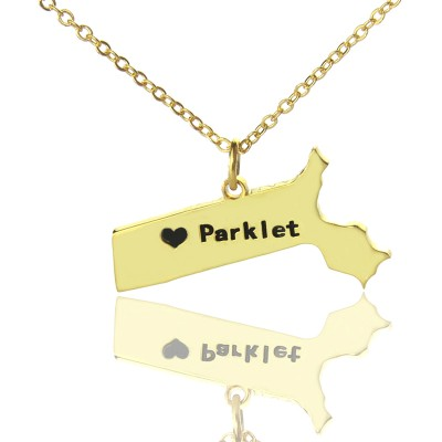 Massachusetts State Shaped Necklaces With Heart Name Gold Plated - Handmade By AOL Special
