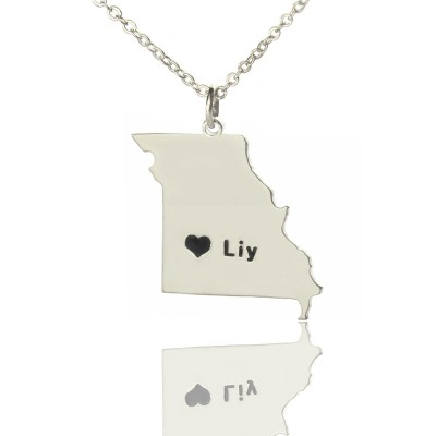 Custom Missouri State Shaped Necklaces With Heart Name Silver - Handmade By AOL Special
