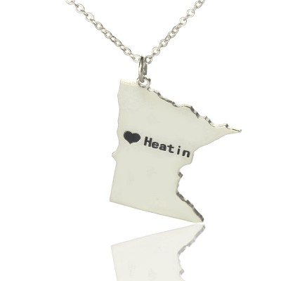 Custom Minnesota State Shaped Necklaces With Heart Name Silver - Handmade By AOL Special