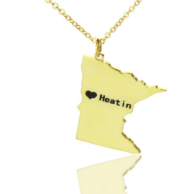 Custom Minnesota State Shaped Necklaces With Heart Name Gold Plated - Handmade By AOL Special