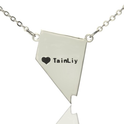 Custom Nevada State Shaped Necklaces With Heart Name Silver - Handmade By AOL Special