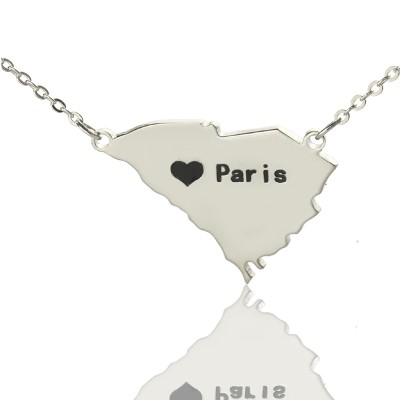 South Carolina State Shaped Necklaces With Heart Name Silver - Handmade By AOL Special