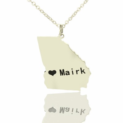 Custom Georgia State Shaped Necklaces With Heart Name Silver - Handmade By AOL Special