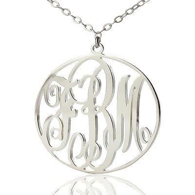 Personalized Necklace Fancy Circle Monogram Necklace Silver - Handmade By AOL Special
