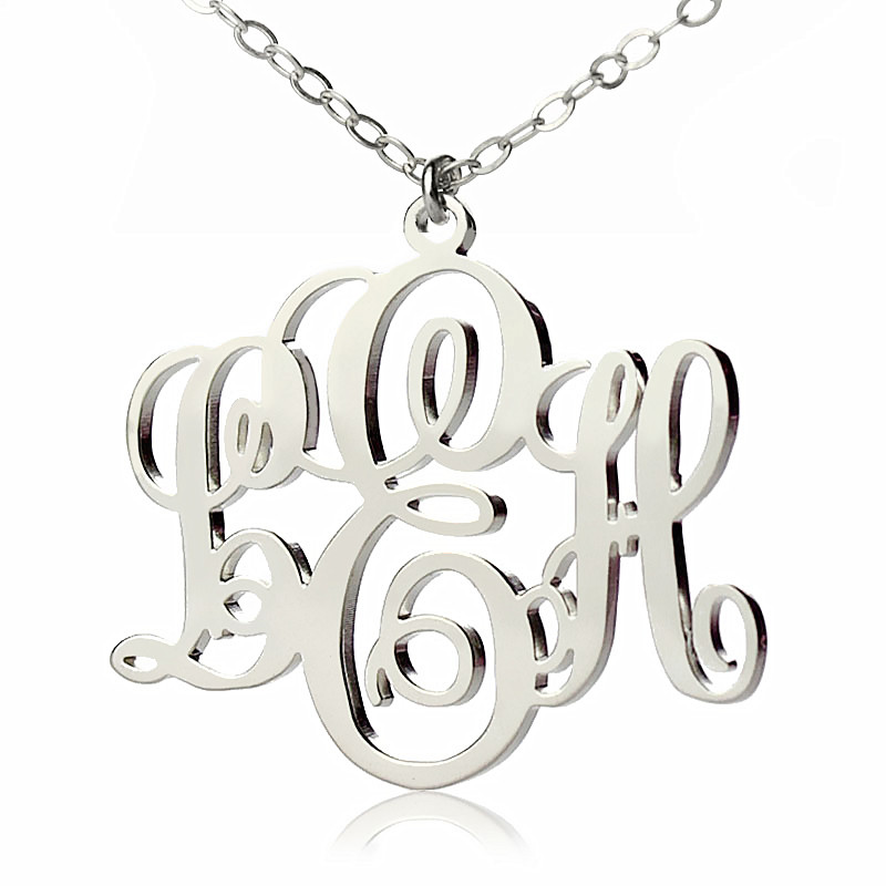 aba04f3273fa5 AOL Special - Personalized Vine Font Initial Monogram Necklace 18ct ...