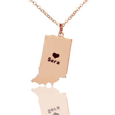 Custom Indiana State Shaped Necklaces With Heart Name Rose Gold - Handmade By AOL Special