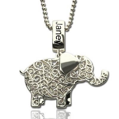 Elephant Charm Necklace with Name Birthstone Sterling Silver - Handmade By AOL Special