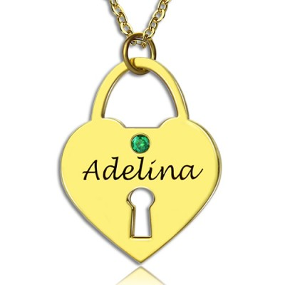 I Love You Heart Lock Keepsake Necklace With Name 18ct Gold Plated - Handmade By AOL Special