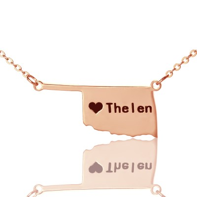 America Oklahoma State USA Map Necklace With Heart Name Rose Gold - Handmade By AOL Special