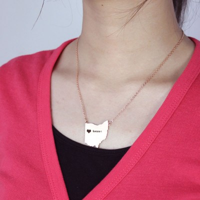 Custom Ohio State USA Map Necklace With Heart Name Rose Gold - Handmade By AOL Special