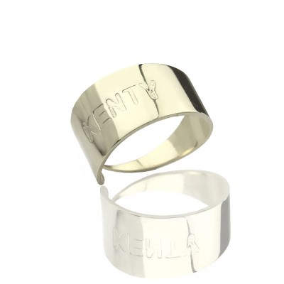 Engraved Name Cuff Rings Sterling Silver - Handmade By AOL Special