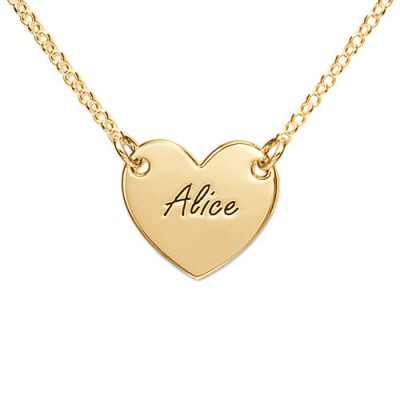 18ct Gold Plated Heart Necklace with Engraving - Handmade By AOL Special