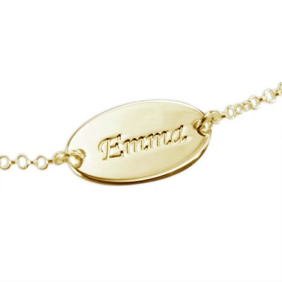 18ct Gold-Plated Silver Personalized Baby Bracelet/Anklet - Handmade By AOL Special