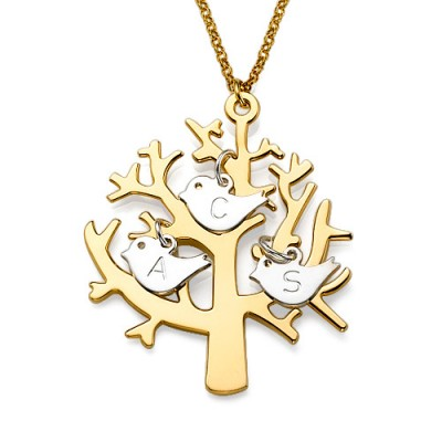 Gold Plated Tree Necklace with 0.925 Silver Initial Birds - Handmade By AOL Special