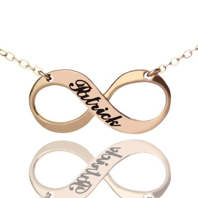 18ct Rose Gold Plated Engraved Infinity Necklace - Handmade By AOL Special