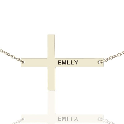 """Silver Latin Cross Necklace Engraved Name 1.25"""" - Handmade By AOL Special"""