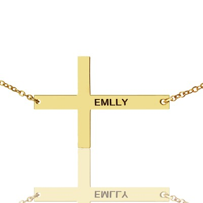 """18ct Gold Plated Silver Latin Cross Necklace Engraved Name 1.25"""" - Handmade By AOL Special"""
