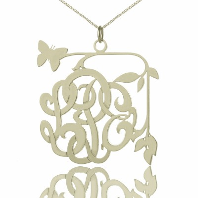 Custom Butterfly Script Monogram Necklace Sterling Silver - Handmade By AOL Special