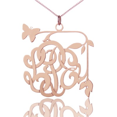 Butterfly and Vines Monogrammed Necklace 18ct Rose Gold Plated - Handmade By AOL Special