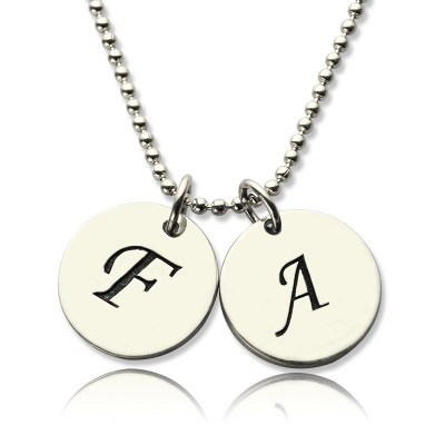 Personalized Initial Discs Necklace Silver - Handmade By AOL Special