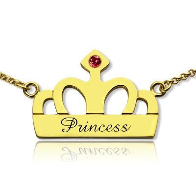 Princess Crown Charm Necklace with Birthstone Name 18ct Gold Plated - Handmade By AOL Special