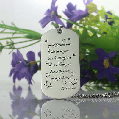 Best Friends Gift Dog Tag Name Necklace - Handmade By AOL Special