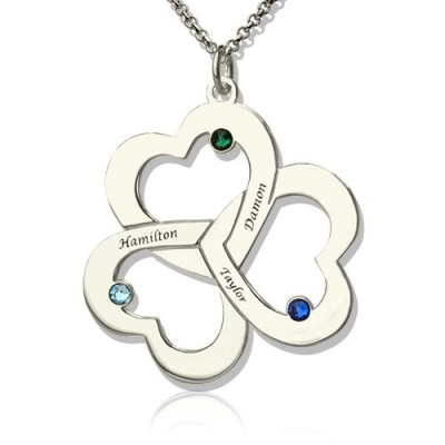 Personalized Three Triple Heart Shamrocks Necklace with Name - Handmade By AOL Special