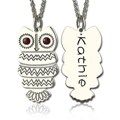 Cute Birthstone Owl Name Necklace for Girls - Handmade By AOL Special