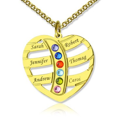 Mothers Necklace With Children Names Birthstones 18ct Gold Plated - Handmade By AOL Special