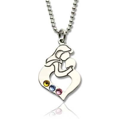 Personalized Mother Child Necklace with Birthstone Silver - Handmade By AOL Special