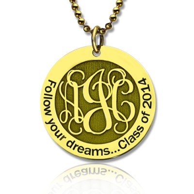 Follow Your Dreams Disc Monogram Necklace 18ct Gold Plated - Handmade By AOL Special