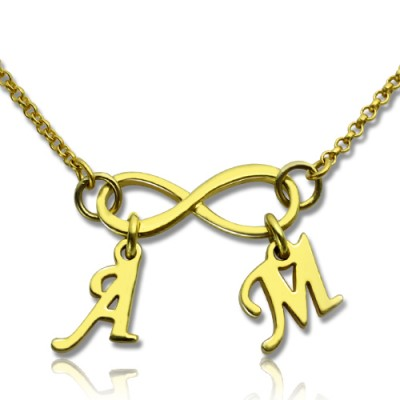 Infinity Pendant Double Initial 18ct Gold Plated - Handmade By AOL Special
