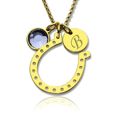 Birthstone Horseshoe Lucky Necklace with Initial Charm 18ct Gold Plate - Handmade By AOL Special